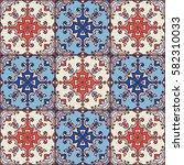 portuguese azulejo tiles. blue... | Shutterstock .eps vector #582310033