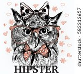 fashion hipster background with ... | Shutterstock .eps vector #582313657