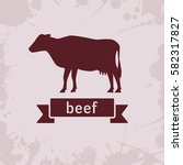 cow silhouette with ribbon   Shutterstock .eps vector #582317827