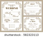 set of wedding cards in retro... | Shutterstock .eps vector #582323113