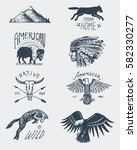 set of engraved vintage  hand... | Shutterstock .eps vector #582330277