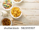 variety of cold cereals in... | Shutterstock . vector #582355507
