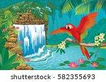 vector illustration tropical... | Shutterstock .eps vector #582355693