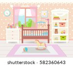 flat design. baby room with a ... | Shutterstock .eps vector #582360643