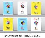 set of baby shower cards ... | Shutterstock .eps vector #582361153