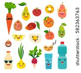 emoticons food vector set. cute ... | Shutterstock .eps vector #582363763