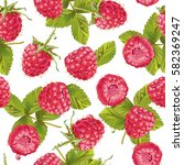 vector raspberry seamless... | Shutterstock .eps vector #582369247