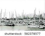 sailing yachts on sea harbor... | Shutterstock . vector #582378577