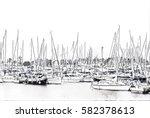 sailing yachts on sea harbor... | Shutterstock . vector #582378613