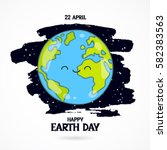 22 april. happy earth day.... | Shutterstock .eps vector #582383563