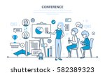 conducting business conferences ... | Shutterstock .eps vector #582389323