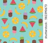 cute summer seamless pattern...   Shutterstock .eps vector #582390673