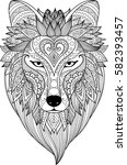 zendoodle stylize of dire wolf... | Shutterstock .eps vector #582393457