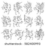 vector set of twelve images of... | Shutterstock .eps vector #582400993