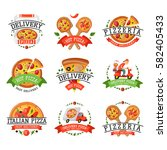 Delivery Pizza Badge Vector...