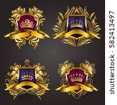 set of golden royal shields... | Shutterstock .eps vector #582413497
