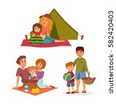 picnic setting with fresh food... | Shutterstock .eps vector #582420403