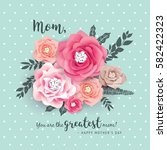 mother's day greeting card with ... | Shutterstock .eps vector #582422323