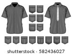 black shirt pockets design.... | Shutterstock .eps vector #582436027