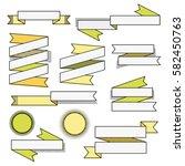 set of retro geometric ribbons. ... | Shutterstock .eps vector #582450763