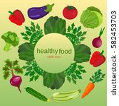 eco food menu background. fresh ... | Shutterstock . vector #582453703