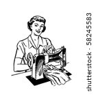 lady sewing   retro clip art | Shutterstock .eps vector #58245583