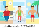 male body transformation.man at ... | Shutterstock .eps vector #582469033