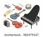 music  vector isometric concept ... | Shutterstock .eps vector #582479167