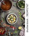 japanese miso soup with... | Shutterstock . vector #582491767