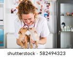 veterinarian with a chihuahua... | Shutterstock . vector #582494323