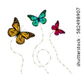 flying butterflies. vector | Shutterstock .eps vector #582498907