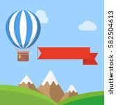 hot air balloon with banner | Shutterstock .eps vector #582504613