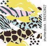 trendy seamless exotic pattern... | Shutterstock .eps vector #582512827