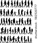 large collection of silhouettes ... | Shutterstock .eps vector #582520777