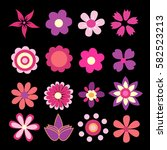 colorful spring flowers vector... | Shutterstock .eps vector #582523213