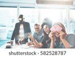 beautiful young people having... | Shutterstock . vector #582528787