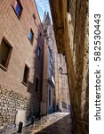 Small photo of Gothic quarter in Barcelona, Spain