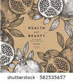 pomegranate fruit vintage... | Shutterstock .eps vector #582535657