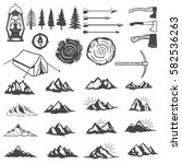 set of mountains icons. hiking... | Shutterstock .eps vector #582536263