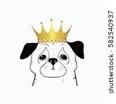 Hand Drawn Pug.  Cute Dog King