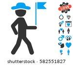 gentleman flag guide pictograph ... | Shutterstock .eps vector #582551827