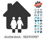family house icon with bonus... | Shutterstock .eps vector #582553987