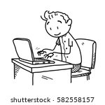 browsing the internet doodle  a ... | Shutterstock .eps vector #582558157