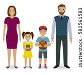 happy young family standing... | Shutterstock .eps vector #582561583