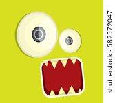 vector green funny monster face.... | Shutterstock .eps vector #582572047