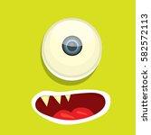 vector green funny monster face.... | Shutterstock .eps vector #582572113