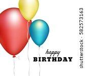happy birthday card template...   Shutterstock .eps vector #582573163