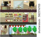vector set of coffee shop ... | Shutterstock .eps vector #582576703