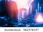 double exposure businessman and ... | Shutterstock . vector #582578197