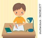 little boy makes a homework.... | Shutterstock .eps vector #582581377